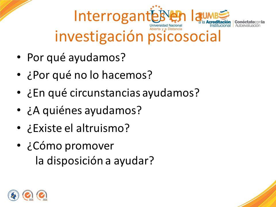 Interrogantes en la investigación psicosocial