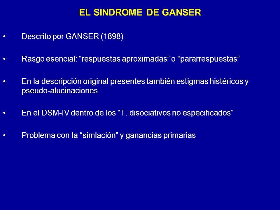 EL SINDROME DE GANSER Descrito por GANSER (1898)