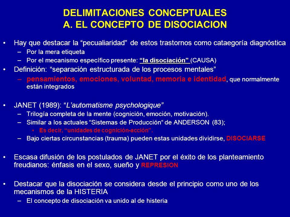 DELIMITACIONES CONCEPTUALES A. EL CONCEPTO DE DISOCIACION