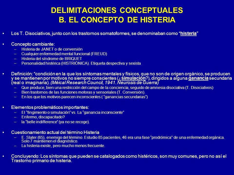 DELIMITACIONES CONCEPTUALES B. EL CONCEPTO DE HISTERIA