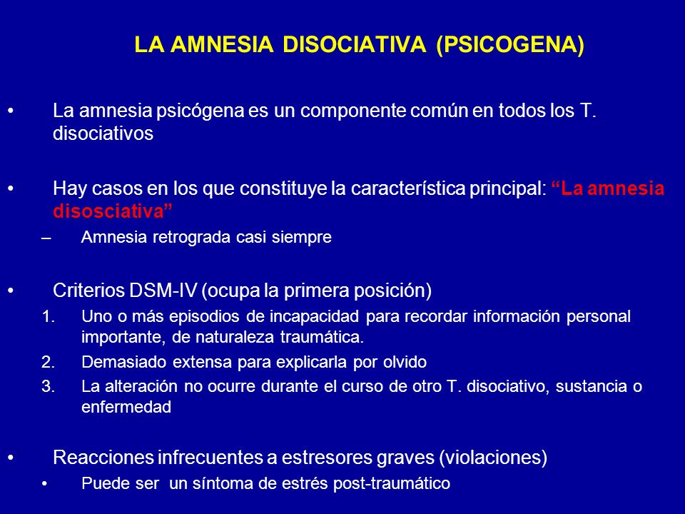 LA AMNESIA DISOCIATIVA (PSICOGENA)