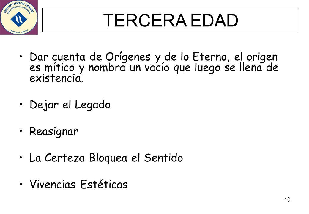 TERCERA EDAD Dar cuenta de Orígenes y de lo Eterno, el origen es mítico y nombra un vacío que luego se llena de existencia.