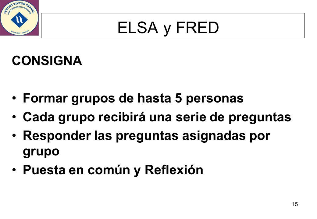 ELSA y FRED CONSIGNA Formar grupos de hasta 5 personas