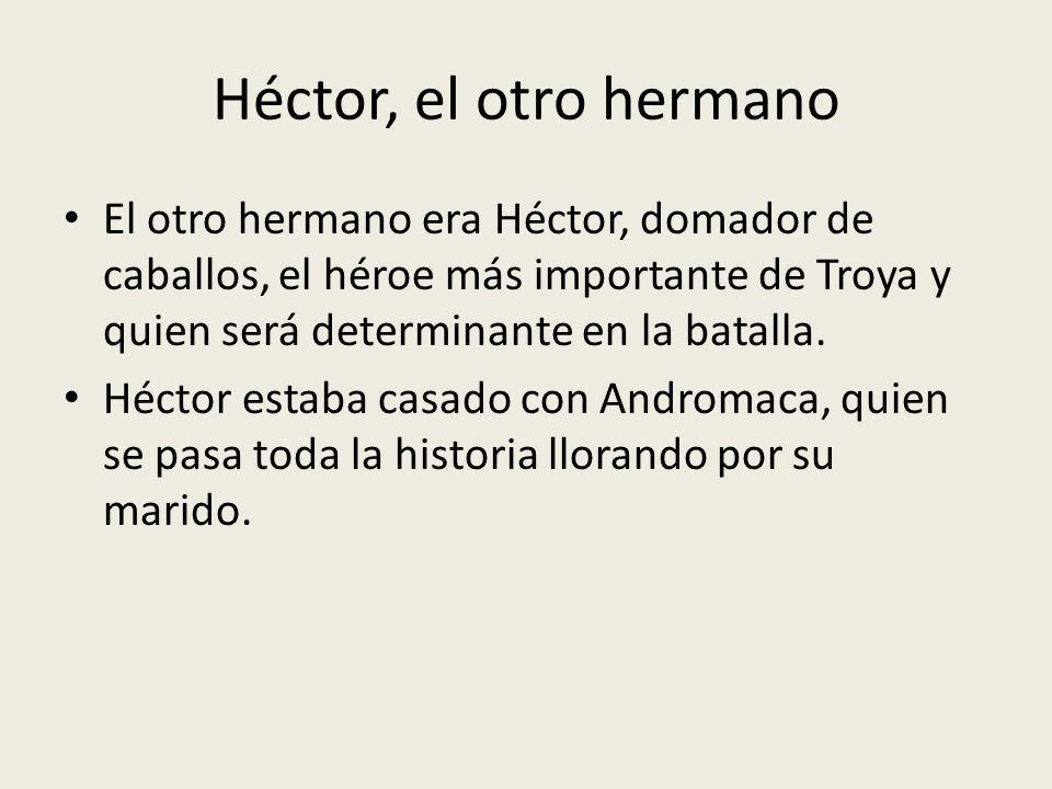 Héctor, el otro hermano El otro hermano era Héctor, domador de caballos, el héroe más importante de Troya y quien será determinante en la batalla.