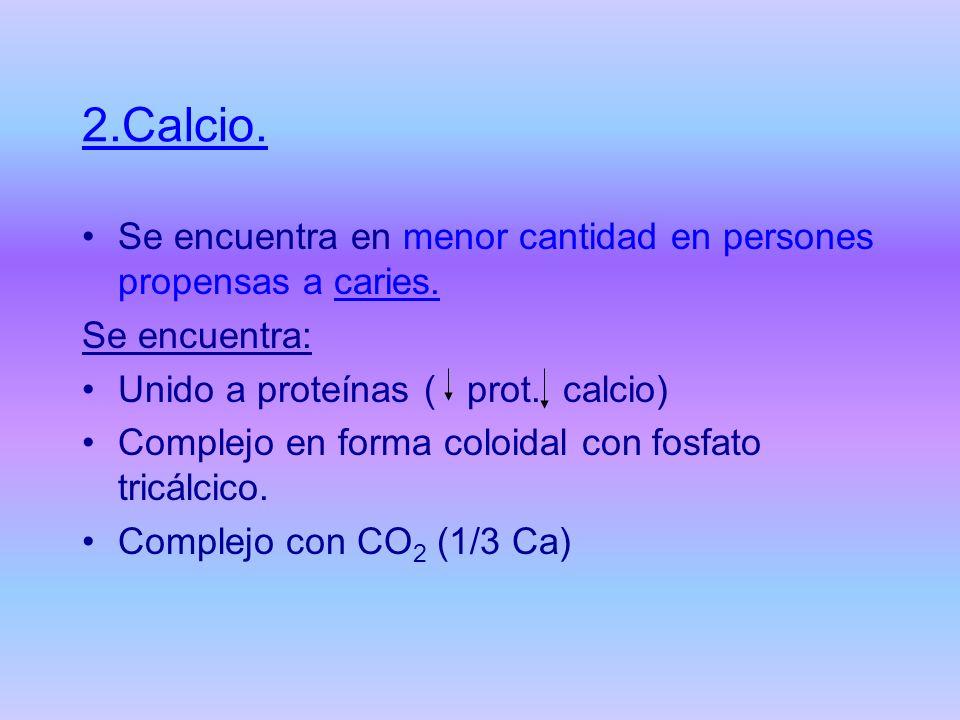 2.Calcio. Se encuentra en menor cantidad en persones propensas a caries. Se encuentra: Unido a proteínas ( prot. calcio)