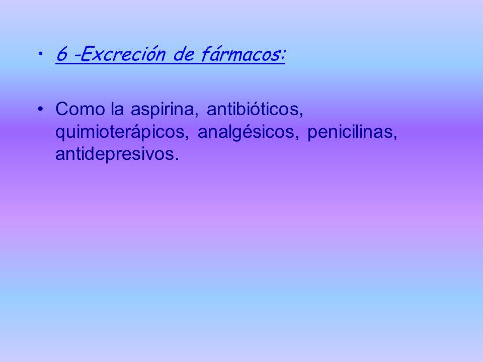 6 -Excreción de fármacos: