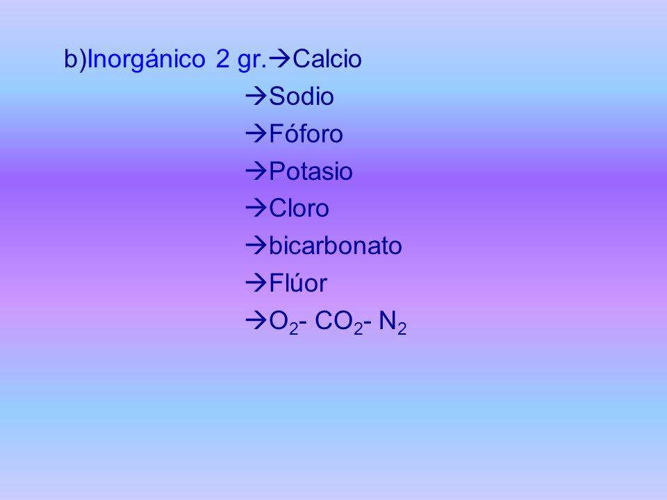b)Inorgánico 2 gr.Calcio