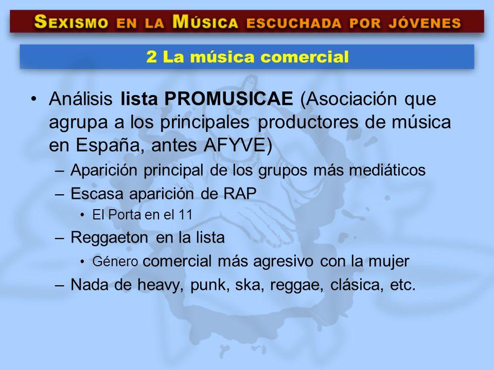 2 La música comercial Análisis lista PROMUSICAE (Asociación que agrupa a los principales productores de música en España, antes AFYVE)
