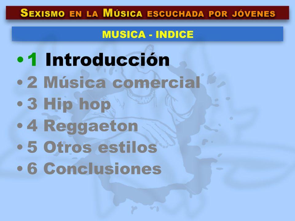 1 Introducción 2 Música comercial 3 Hip hop 4 Reggaeton