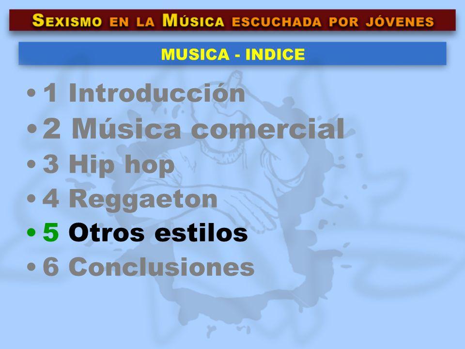 2 Música comercial 1 Introducción 3 Hip hop 4 Reggaeton