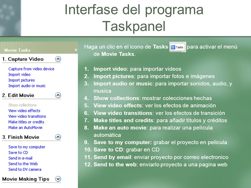 Interfase del programa Taskpanel
