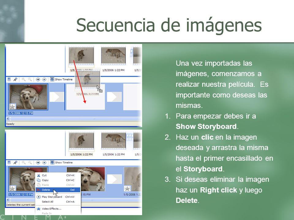 Secuencia de imágenes Una vez importadas las imágenes, comenzamos a realizar nuestra película. Es importante como deseas las mismas.