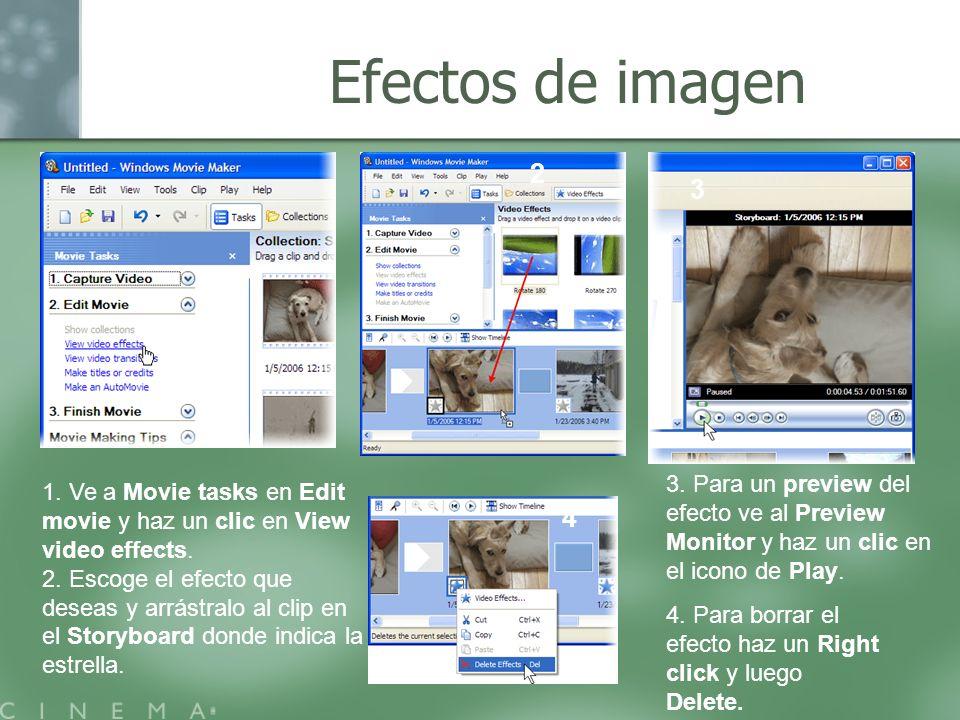Efectos de imagen 2. 3. 3. Para un preview del efecto ve al Preview Monitor y haz un clic en el icono de Play.