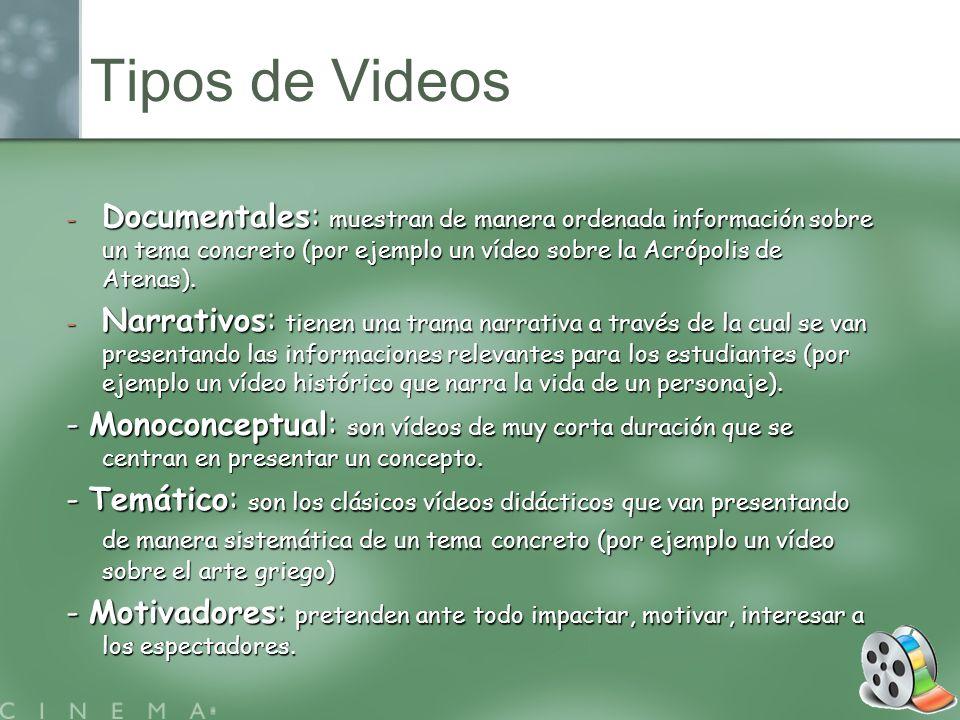 Tipos de Videos Documentales: muestran de manera ordenada información sobre un tema concreto (por ejemplo un vídeo sobre la Acrópolis de Atenas).