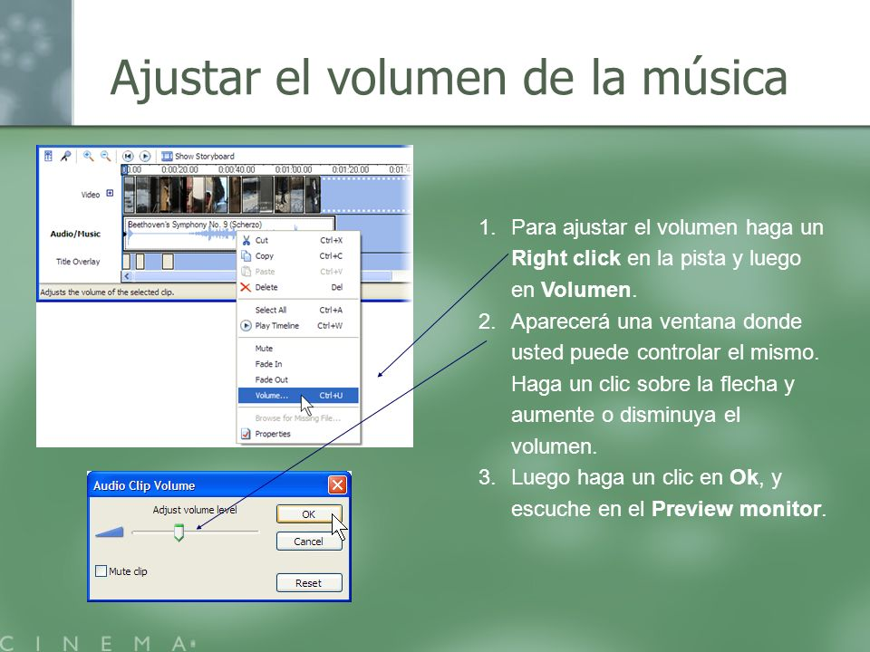 Ajustar el volumen de la música