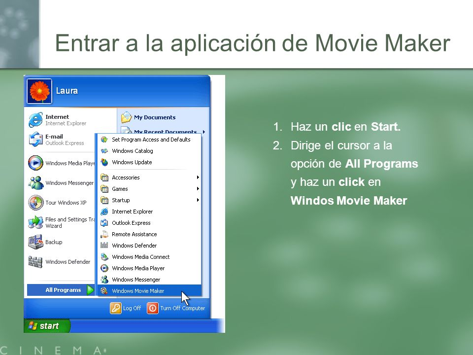 Entrar a la aplicación de Movie Maker