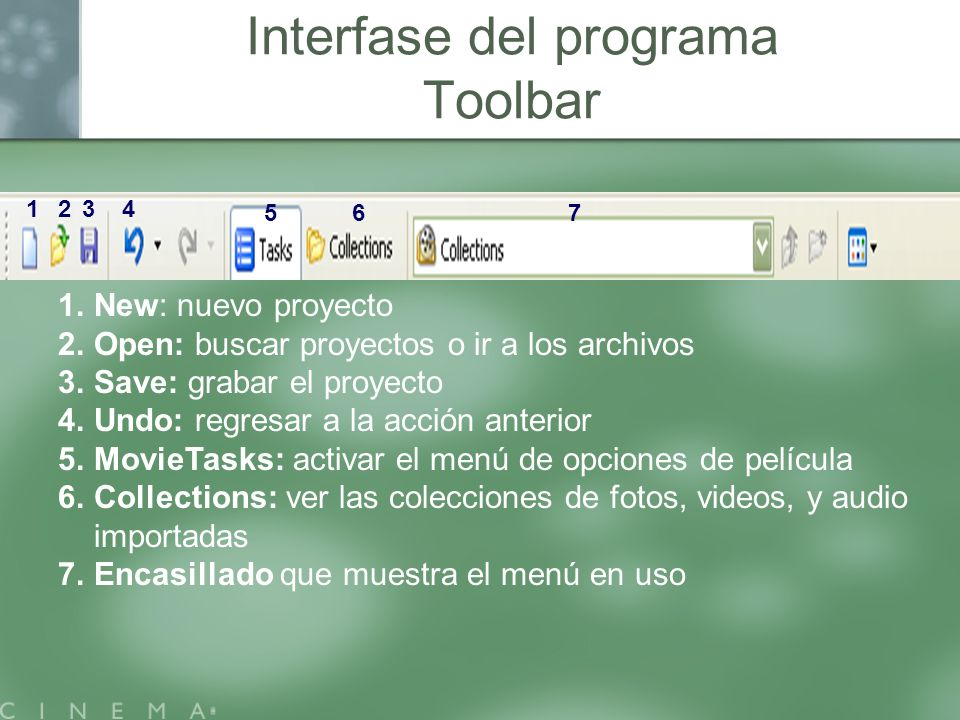 Interfase del programa Toolbar