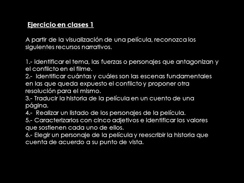 IEjercicio en clases 1A partir de la visualización de una película, reconozca los siguientes recursos narrativos.