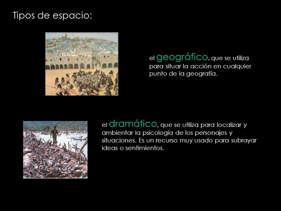 Tipos de espacio: el geográfico, que se utiliza para situar la acción en cualquier punto de la geografía.