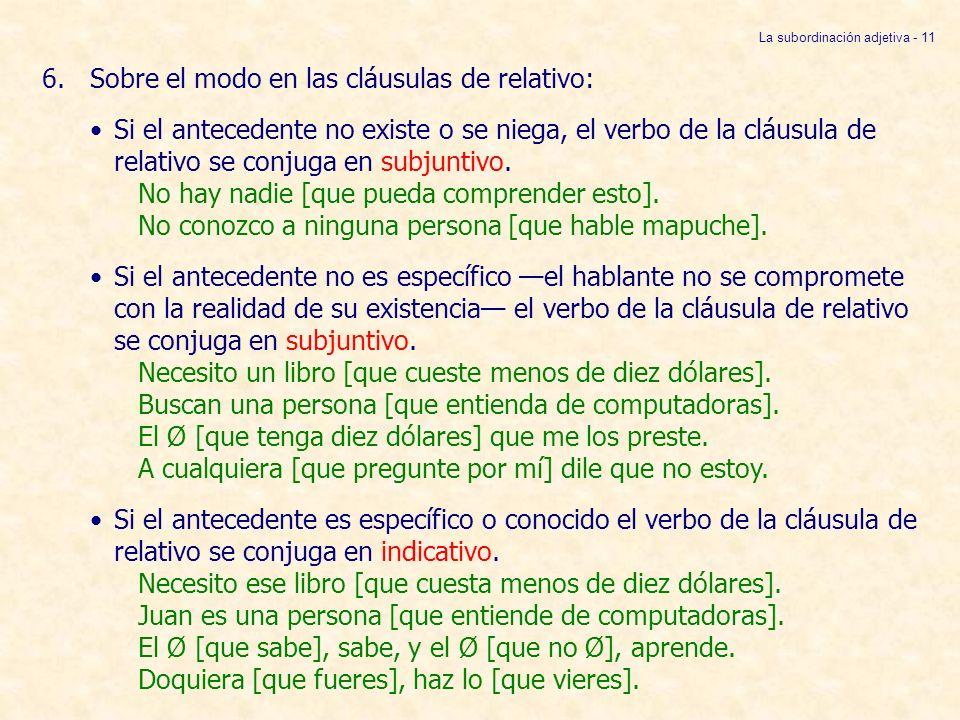 La subordinación adjetiva - 11