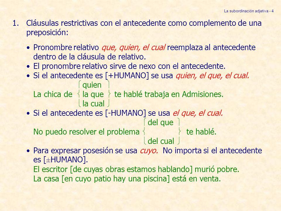 La subordinación adjetiva - 4