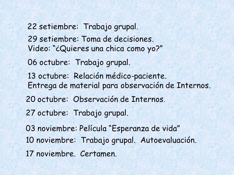 22 setiembre: Trabajo grupal.