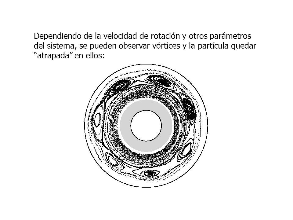 Dependiendo de la velocidad de rotación y otros parámetros del sistema, se pueden observar vórtices y la partícula quedar atrapada en ellos: