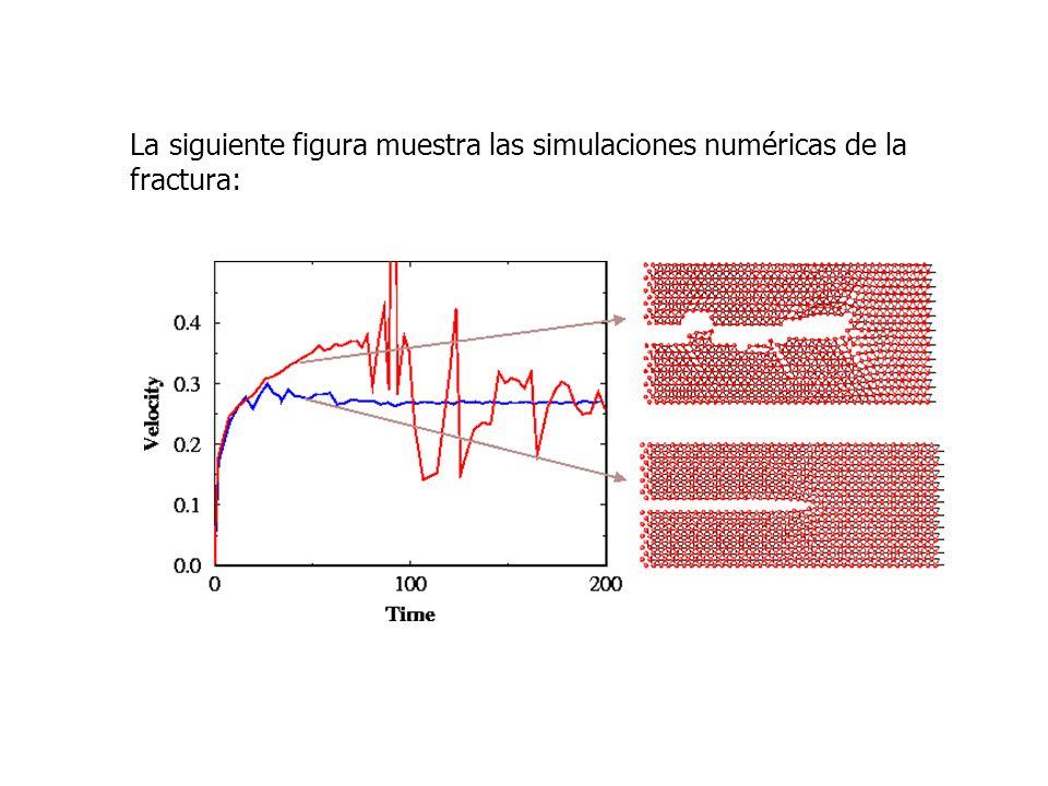 La siguiente figura muestra las simulaciones numéricas de la fractura: