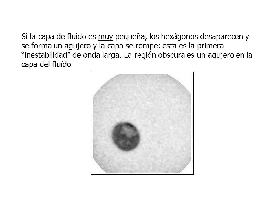 Si la capa de fluido es muy pequeña, los hexágonos desaparecen y se forma un agujero y la capa se rompe: esta es la primera inestabilidad de onda larga.