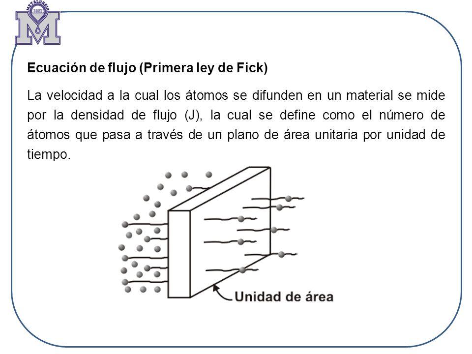 Ecuación de flujo (Primera ley de Fick)