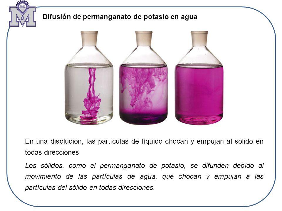 Difusión de permanganato de potasio en agua