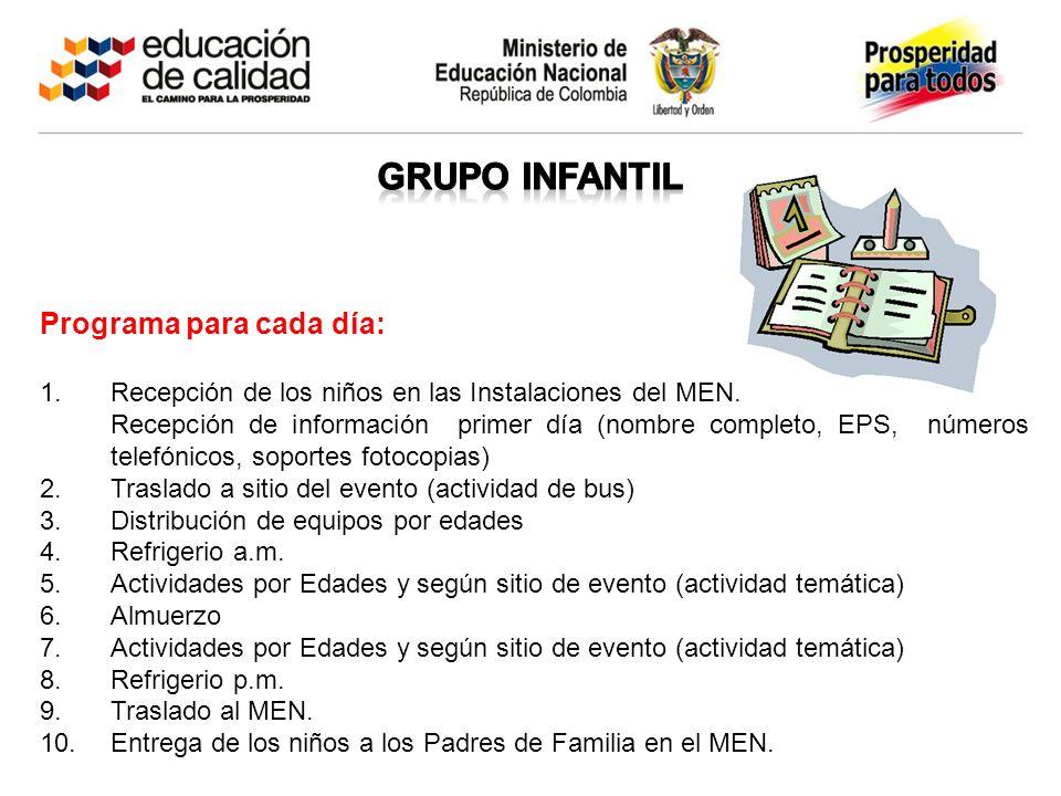 GRUPO INFANTIL Programa para cada día: