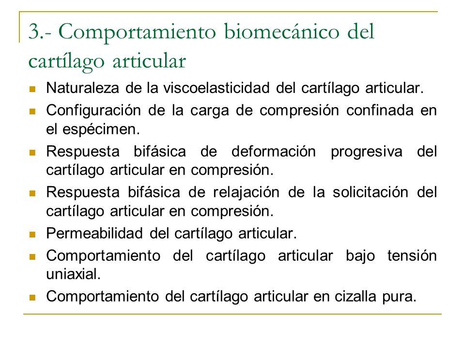 3.- Comportamiento biomecánico del cartílago articular