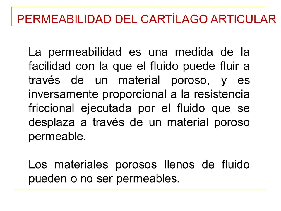 PERMEABILIDAD DEL CARTÍLAGO ARTICULAR
