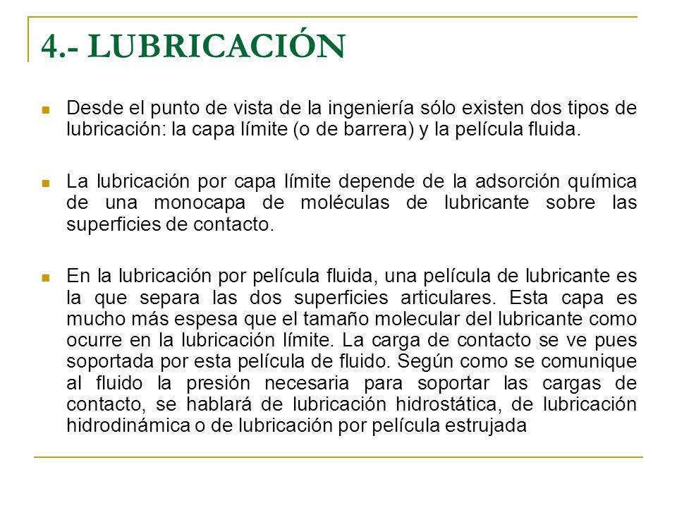 4.- LUBRICACIÓN Desde el punto de vista de la ingeniería sólo existen dos tipos de lubricación: la capa límite (o de barrera) y la película fluida.