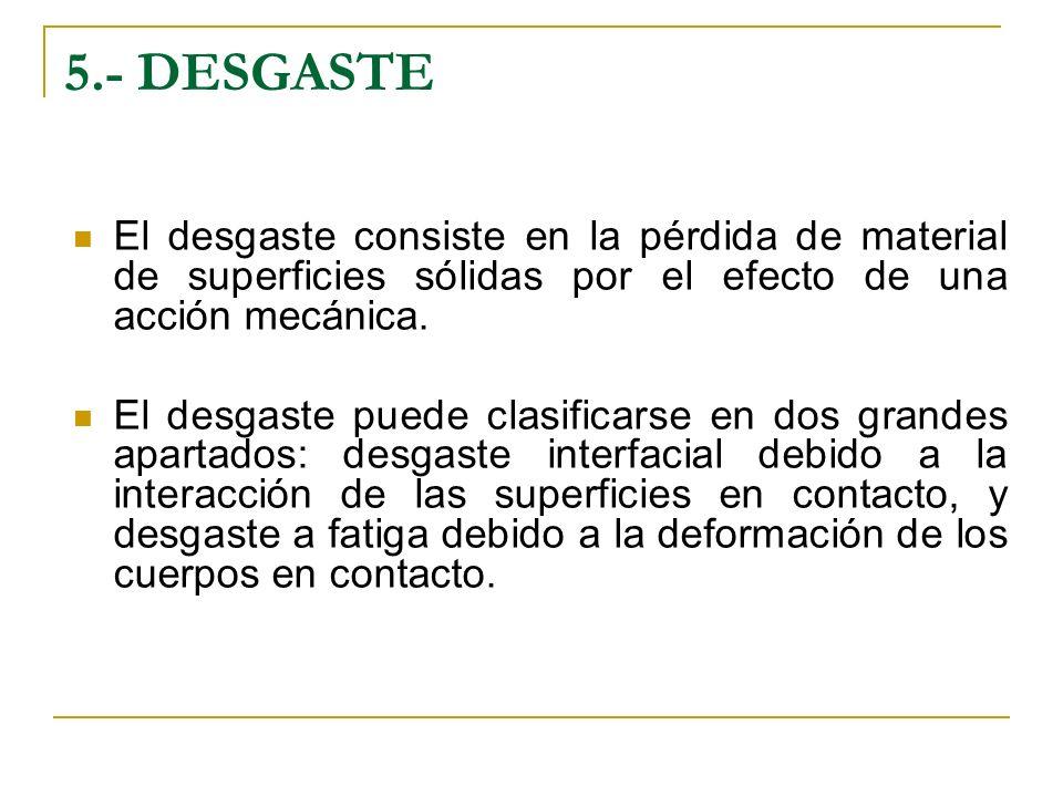 5.- DESGASTE El desgaste consiste en la pérdida de material de superficies sólidas por el efecto de una acción mecánica.