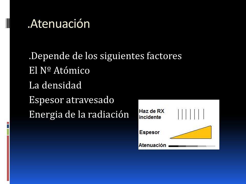 .Atenuación .Depende de los siguientes factores El Nº Atómico