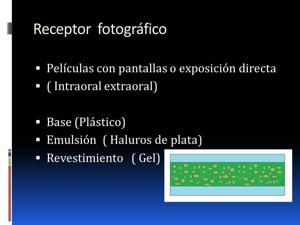 Receptor fotográfico Películas con pantallas o exposición directa
