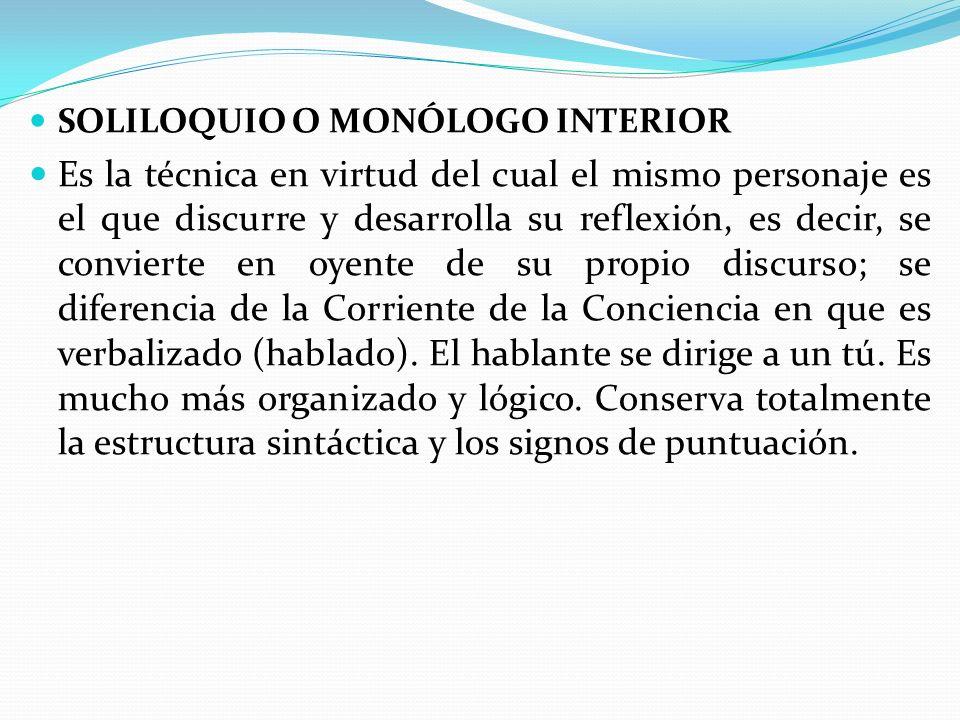 SOLILOQUIO O MONÓLOGO INTERIOR