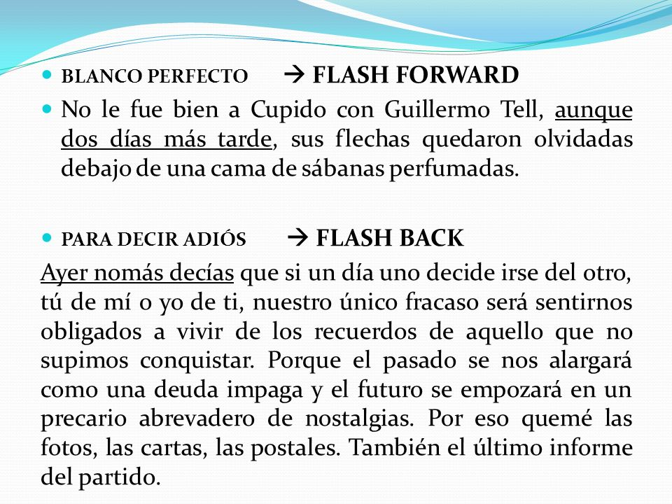 blanco perfecto  FLASH FORWARD
