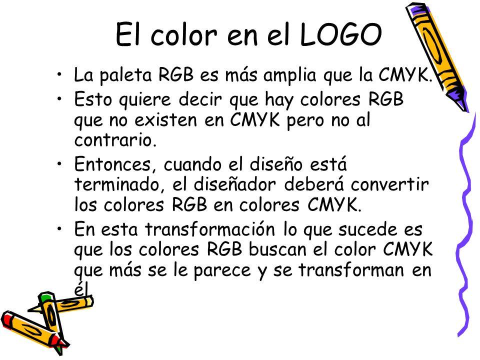 El color en el LOGO La paleta RGB es más amplia que la CMYK.