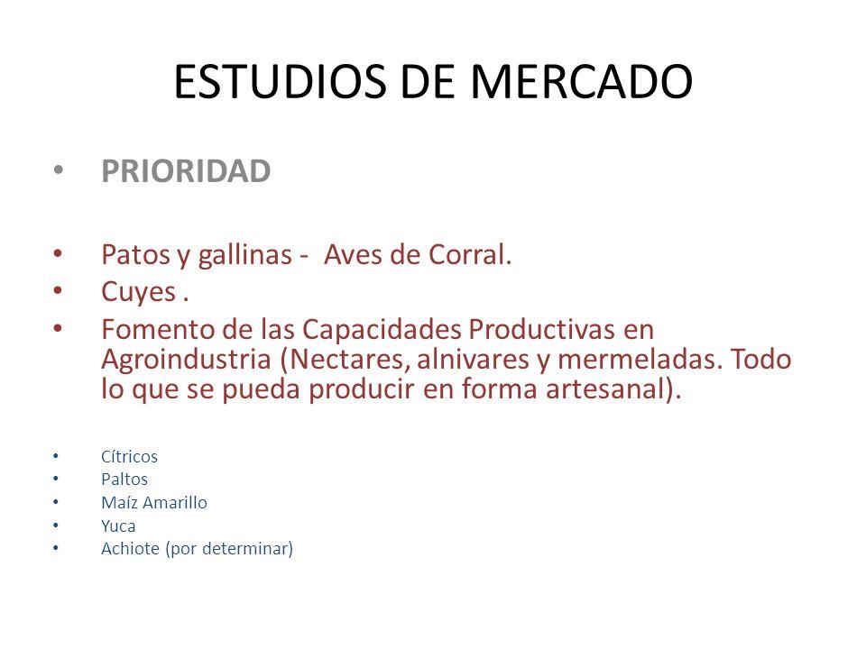 ESTUDIOS DE MERCADO PRIORIDAD Patos y gallinas - Aves de Corral.