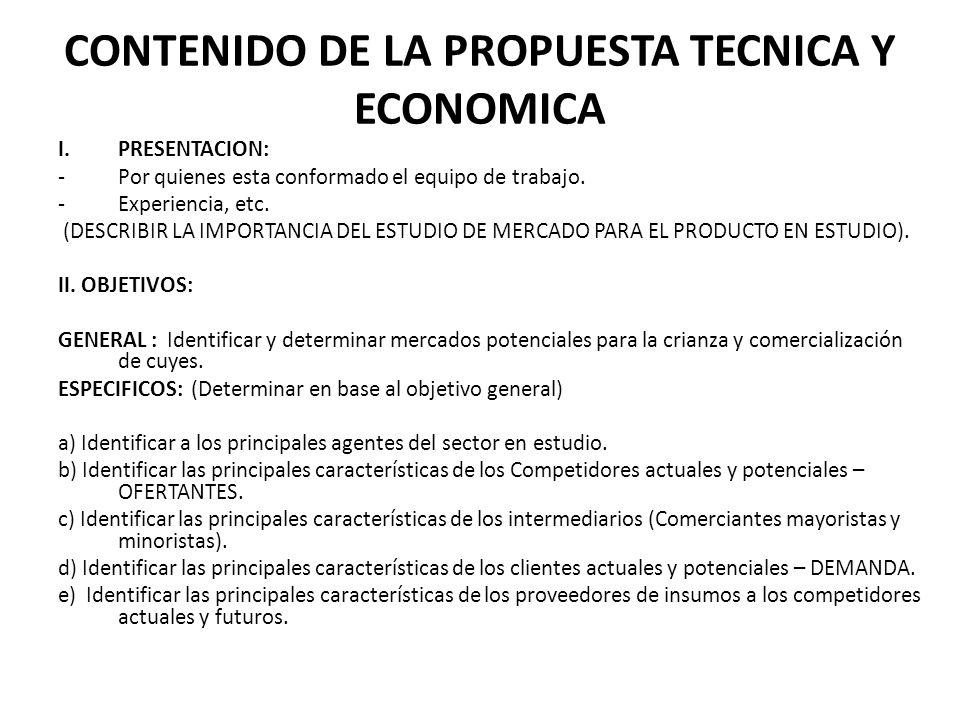 CONTENIDO DE LA PROPUESTA TECNICA Y ECONOMICA