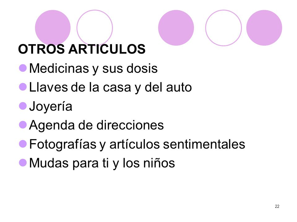 OTROS ARTICULOSMedicinas y sus dosis. Llaves de la casa y del auto. Joyería. Agenda de direcciones.