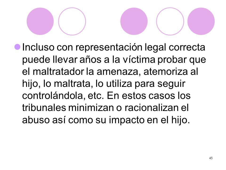 Incluso con representación legal correcta puede llevar años a la víctima probar que el maltratador la amenaza, atemoriza al hijo, lo maltrata, lo utiliza para seguir controlándola, etc.
