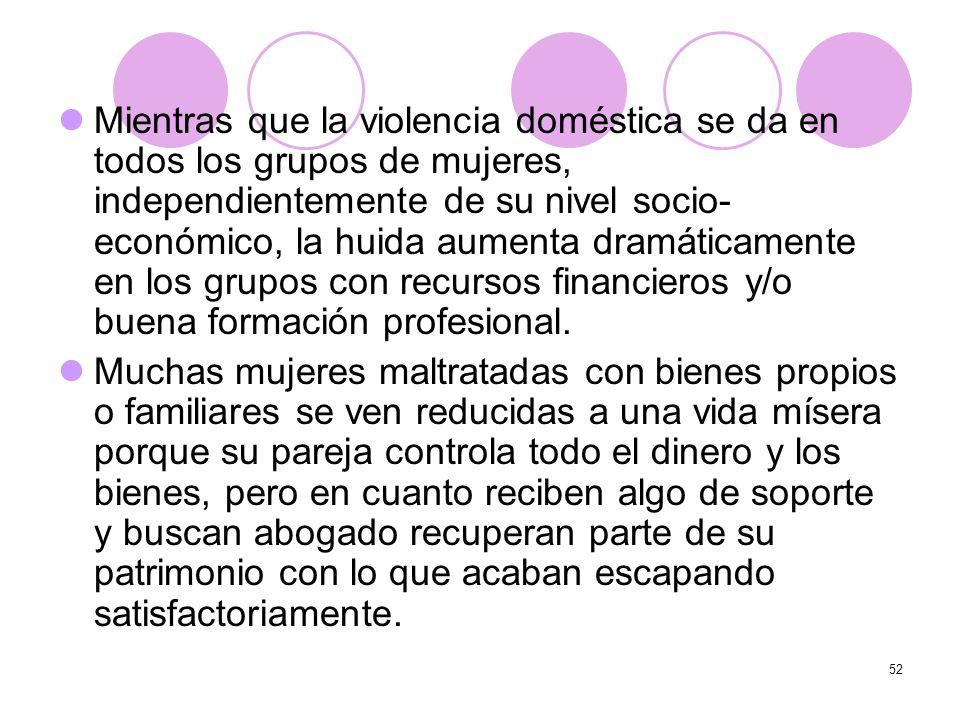 Mientras que la violencia doméstica se da en todos los grupos de mujeres, independientemente de su nivel socio-económico, la huida aumenta dramáticamente en los grupos con recursos financieros y/o buena formación profesional.