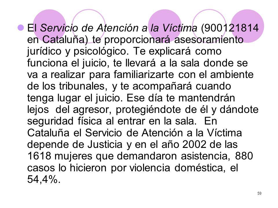 El Servicio de Atención a la Víctima (900121814 en Cataluña) te proporcionará asesoramiento jurídico y psicológico.