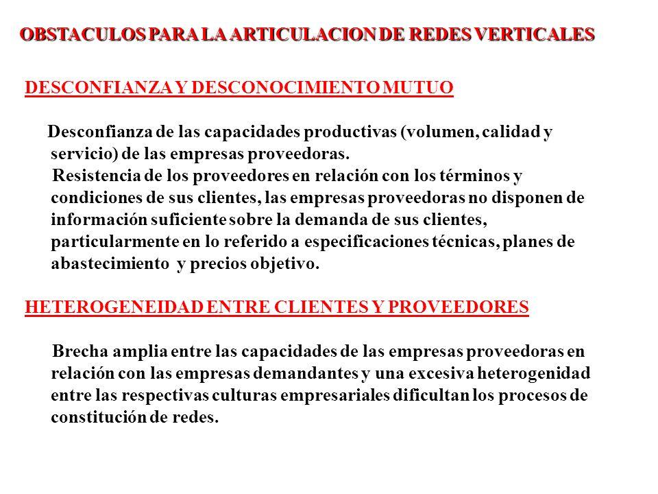 OBSTACULOS PARA LA ARTICULACION DE REDES VERTICALES
