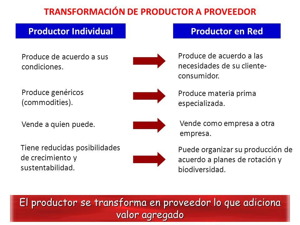 TRANSFORMACIÓN DE PRODUCTOR A PROVEEDOR