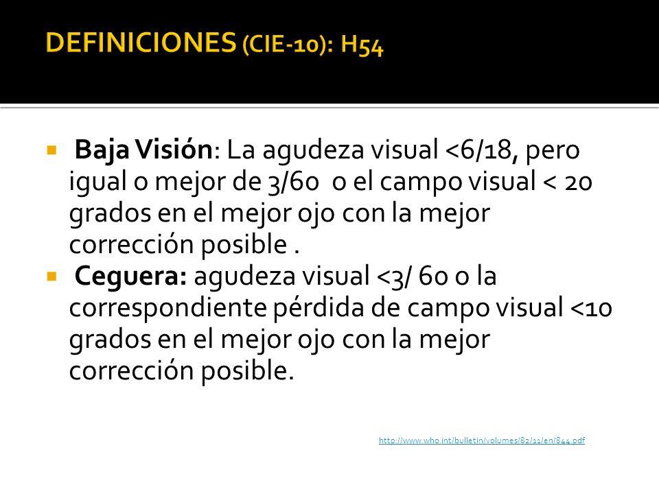 DEFINICIONES (CIE-10): H54